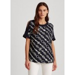 Anchor-Print Crepe Top