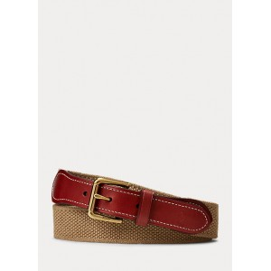 Webbed-Cotton-and-Leather Belt