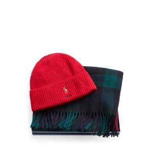 Ribbed Hat  Plaid Scarf Set