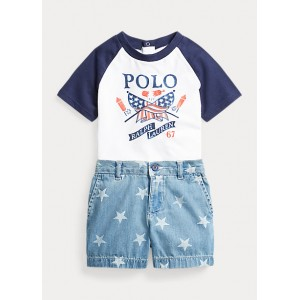 Graphic Tee  Denim Short Set