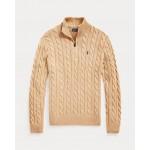 Cable-Knit Cotton Quarter-Zip Sweater Camel Melange