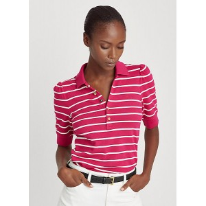 Striped Puff-Sleeve Polo Shirt