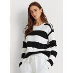 Striped Button-Trim Cotton Sweater
