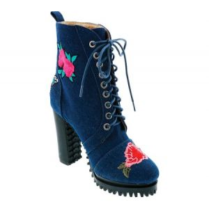 Penny Loves Kenny Frank Floral Patch Combat Boot