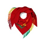 Red Fringe-trimmed intarsia wool and cashmere-blend scarf
