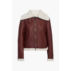 Burgundy Shearling biker jacket