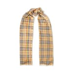 Beige Frayed checked wool and silk-blend scarf
