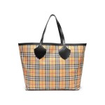 Sand Leather-trimmed checked canvas tote