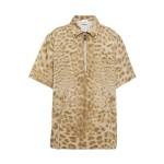 Beige Embellished leopard-print cotton shirt