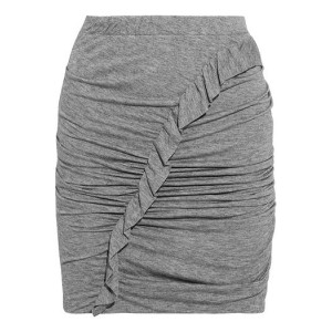 Gray Oda ruffle-trimmed ruched jersey mini skirt