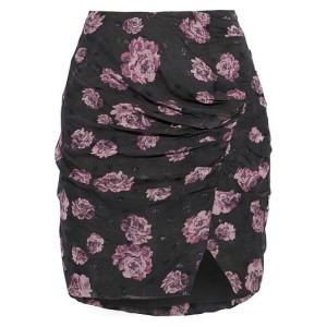 Forest green Bootab ruched floral-print fil coupe chiffon mini skirt