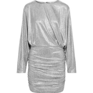 Silver Silar ruched metallic jersey mini dress