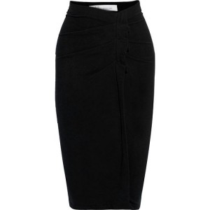 Black Wilber pleated stretch-cotton jersey skirt