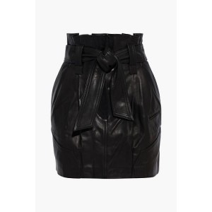 Black Lebo belted pleated leather mini skirt