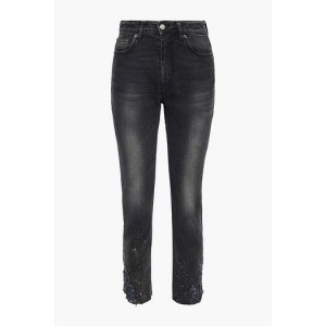 Charcoal Serma cropped distressed painted high-rise skinny jeans