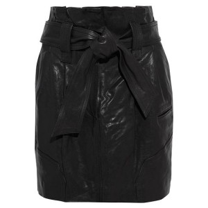 Black Bolsy belted pleated leather mini skirt