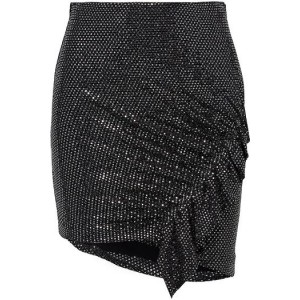 Silver Lilie asymmetric sequined stretch-mesh mini skirt