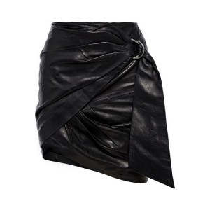 Black Dybal wrap-effect belted leather mini skirt