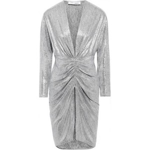 Silver Cilty ruched metallic stretch-mesh mini dress