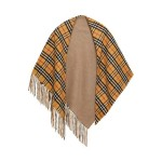 Camel Fringed checked cashmere scarf