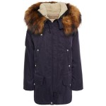 Navy Faux fur-trimmed shell hooded parka
