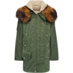 Forest green Faux fur-trimmed shell hooded parka