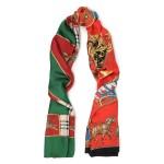 Multicolor Printed silk-twill scarf