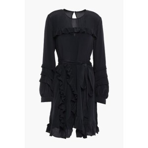 Black Frill belted ruffle-trimmed crepe de chine mini dress
