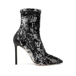 Black Ricky 100 leather-trimmed sequined stretch-knit sock boots