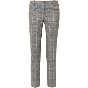 Gray Prince of Wales checked wool-blend straight-leg pants
