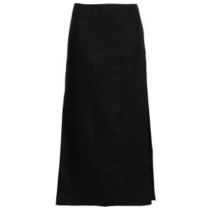 Black Linen and cotton-blend midi skirt