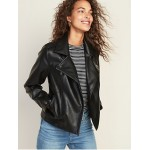 Faux-Leather Moto Jacket for Women