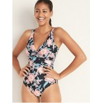 Floral-Print Twist-Front Swimsuit for Women