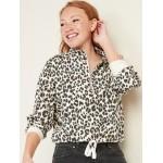 French Terry Cinched-Hem 1/2-Zip Sweatshirt for Women