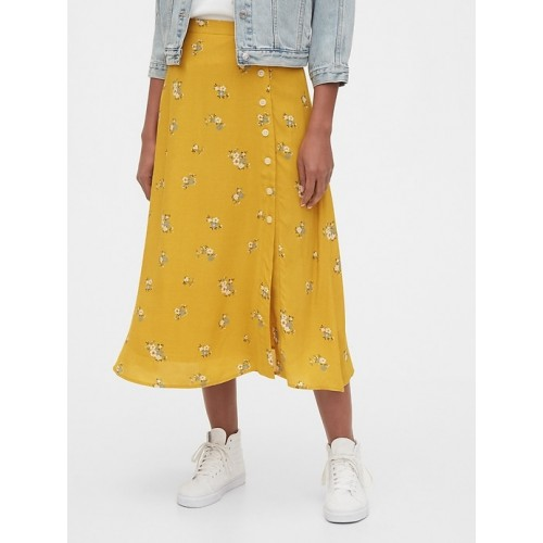 갭 Floral Side-Button Midi Skirt