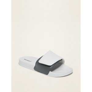 Faux-Leather Secure-Close Slide Sandals for Boys
