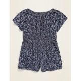 Flutter-Sleeve Cinched-Waist Romper for Toddler Girls