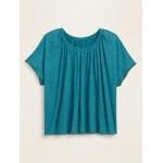 Oversized Linen-Blend Jersey Pom-Pom Sleeve Top for Women
