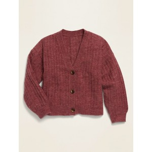 Cropped Button-Front V-Neck Cardigan for Girls