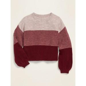 Balloon-Sleeve Crew-Neck Sweater for Girls