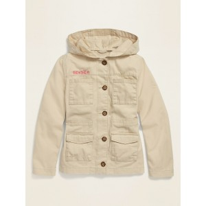 Hooded Twill Utility Jacket for Girls