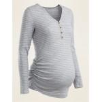 Maternity Rib-Knit Long-Sleeve Henley Tee