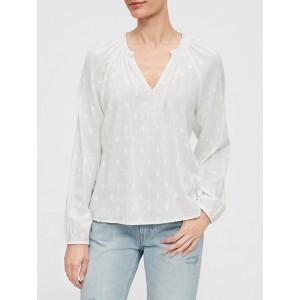 Ruffle-Neck Long Sleeve Shirt