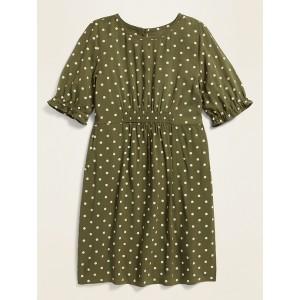Printed Smocked-Waist Dress for Girls