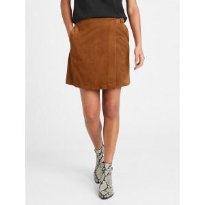 Petite Vegan Suede Wrap Mini Skirt