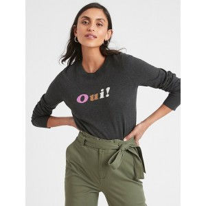 Petite Oui Intarsia Crew-Neck Sweater