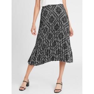 Petite Bandana Print Pleated Midi Skirt