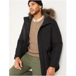 Hooded Faux-Fur Trim Parka Coat for Men