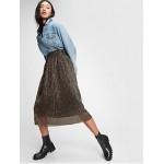 Metallic Crinkle Midi Skirt