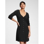Triblend Button-Front Flare Dress